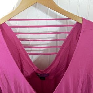 LYS Tops - LYS Caged Back Batwing Hot Pink Top 2X